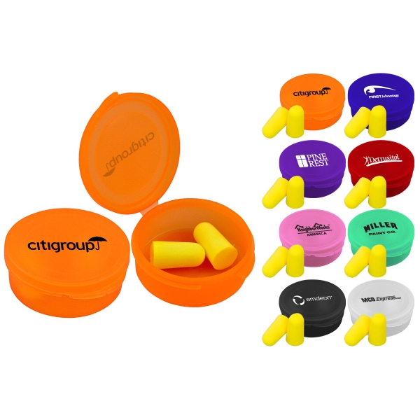 40 Working Days - Reusable, Round Case Keeps Ear Plugs Sanitary. 8 Colors. Ear Plugs Included Photo