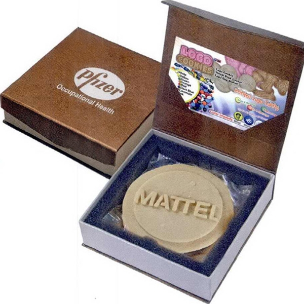 Box With Magnetic Closure. Logo Cookie And Business Card Insert Inside Photo