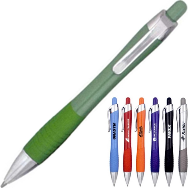 Dallas - 40 Working Days - Solid Color, Curvy Pen With Plunger And Rubber Grip. 7 Color Choices Photo