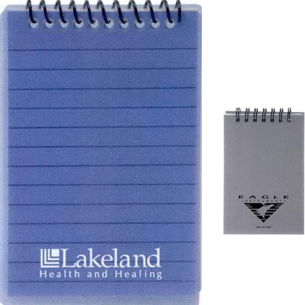 7 Working Days - Top Spiral Bound, Lined Notepad. Colors: Translucent Blue Or Silver Photo