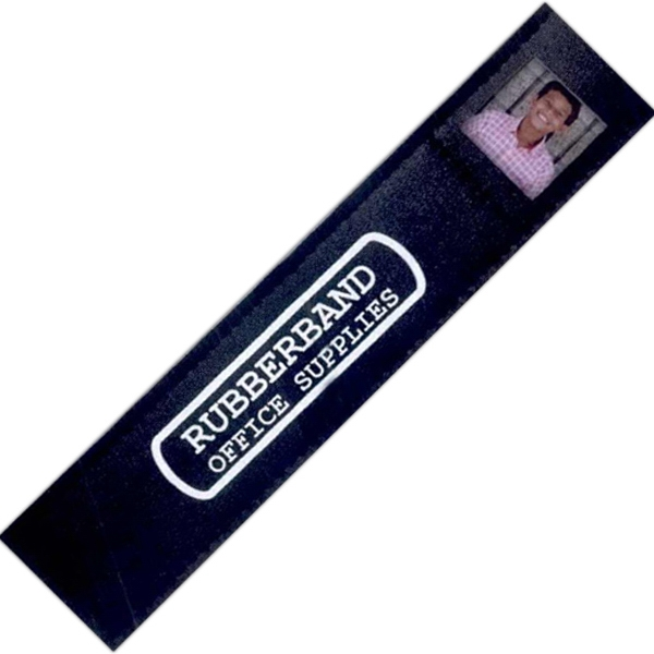 "7 Working Days - Black Leatherette Bookmark Holds A 1"" X 1"" Photo Photo"