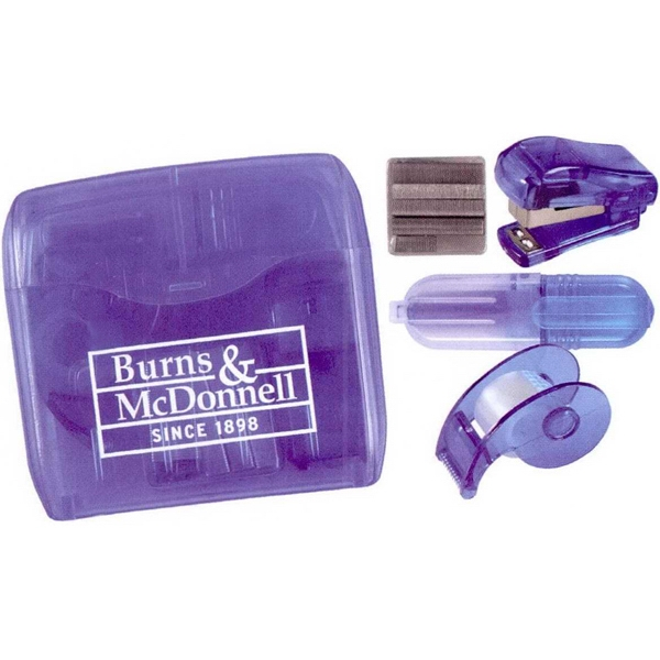 Office On-the-go - 3 Working Days - Translucent Plastic Travel Case With Tape Dispenser, Stapler, Staples, Highlighter Photo