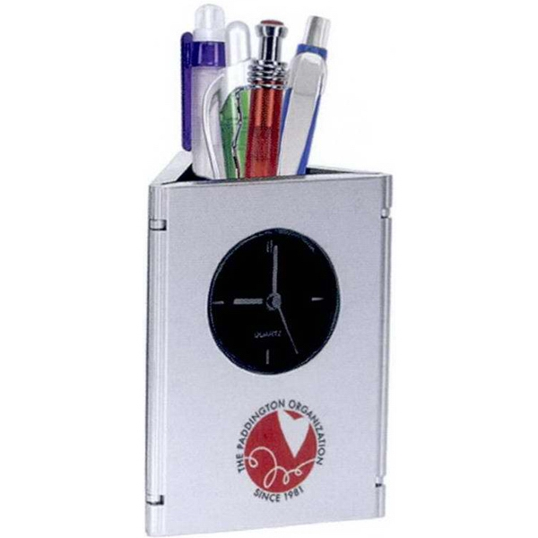 Timeframe - 1 Working Day - Hinged Tri-panel Analog Clock Holds Two 2 X 3 Photos. Fold To Create Desktop Caddy Photo