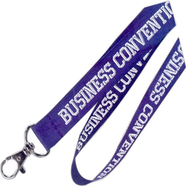 "3/8"" - One Color, One Side, Woven Logo Flat Polyester Lanyard In Standard Colors Photo"