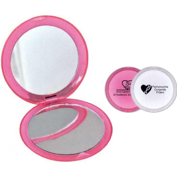 1 Working Day - Compact With Magnified And Standard Mirrors. Colors: Pink, Clear Photo