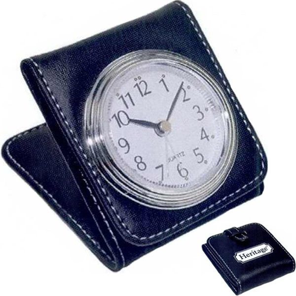 1 Working Day - Travel Clock With Silver Framed Analog Clock Face And Alarm Function. Black Case Photo