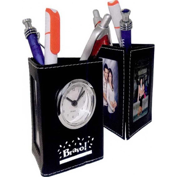 "7 Working Days - Leatherette Tri-panel Analog Clock Holds Two 2.5"" X 1.75"" Photos. Color: Black Photo"