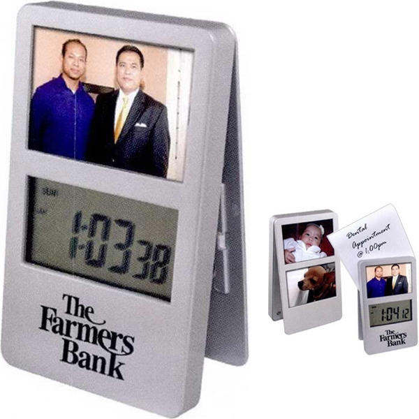 1 Working Day - Digital Clip Clock With 3 Photo Frames. Color: Silver Photo