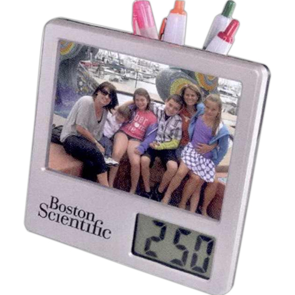 "7 Working Days - Caddy With Digital Clock. Holds 3.45"" X 4.6"" Photo And Pens. Folds Flat To Hang Photo"