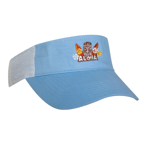 2600 Series - Blue Sky-white - Light Weight Brushed Cotton Twill, 3-panel Visor With An Athletic Mesh Back Photo