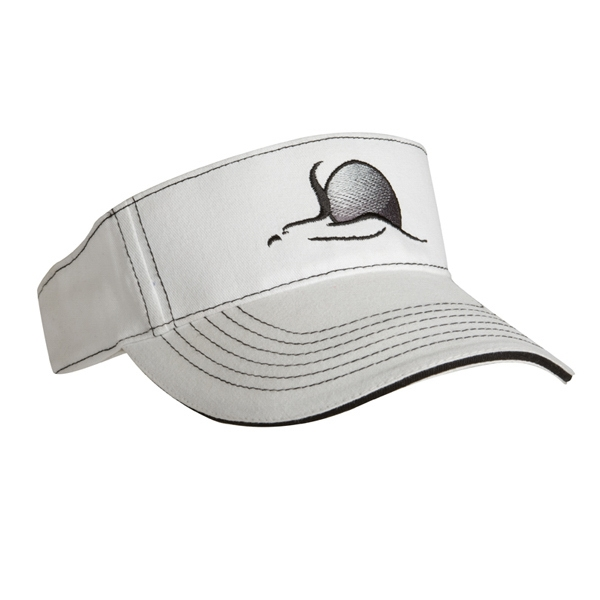 2955 Series - Black-white - Blank, Light Weight Brushed Cotton Twill, 3-panel Visor, 6 Rows Of Visor Stitches Photo