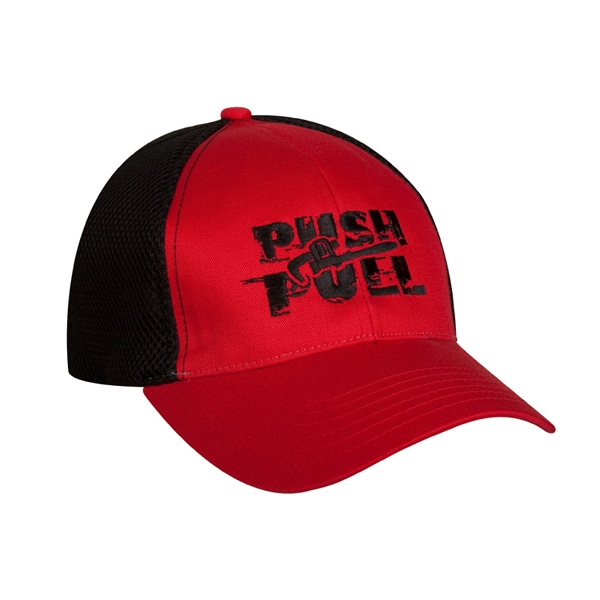 4466 Series - Red-black - Structured Low Profile 6 Panel Baseball Cap With Cotton Twill Front And Visor Photo