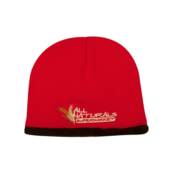 4900 Series - Black-red - Regular Gauge 100% Acrylic Knit Cap With 100% Polyester Fleece Lining Photo
