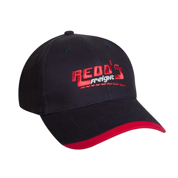 7500 Series - Black-red - 6-panel Brushed Cotton Twill Baseball Cap With Contrasting Wave Visor Photo