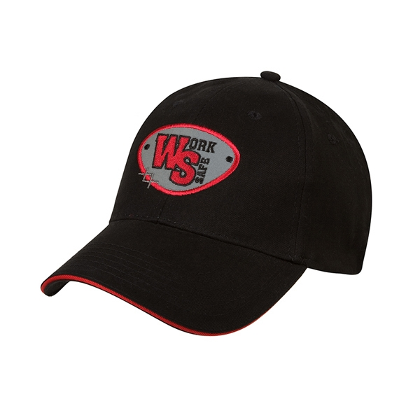 9800 Series - Black-red - Low Profile, Brushed Cotton Twill, Sandwich Visor, 6 Panel Baseball Cap Photo