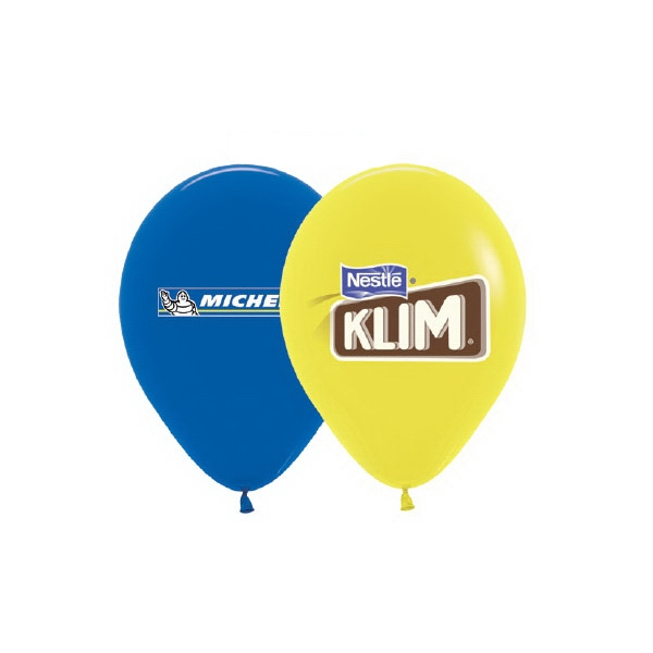 Helium Balloon Latex Imprinted 1 Side 3 Colors - Crystal