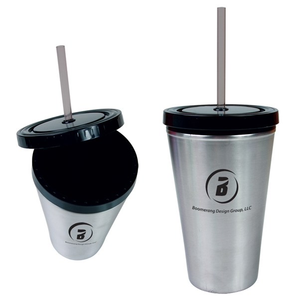 16oz (470 Ml) Bpa-free Double Wall Straw Tumble Photo