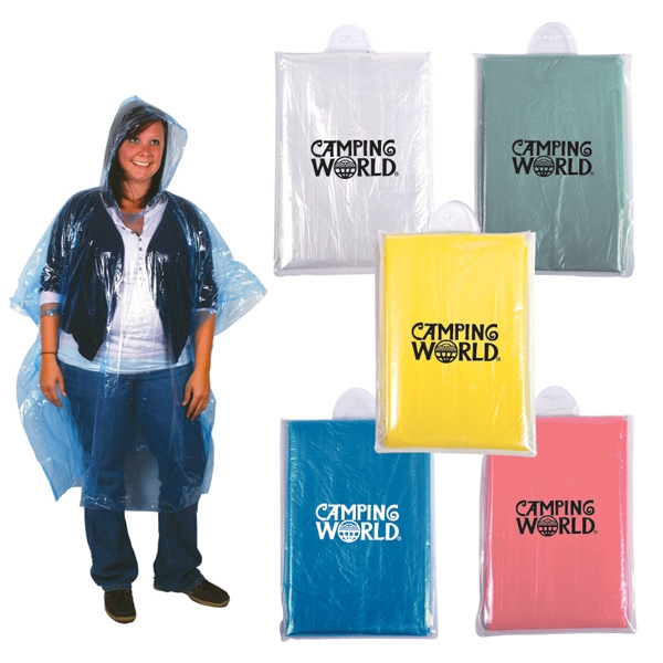 Disposable Rain Poncho With Hood In Compact Pouch Photo