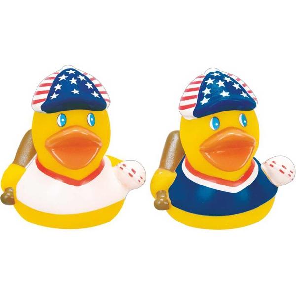 Mini Rubber Patriotic Baseball Duck
