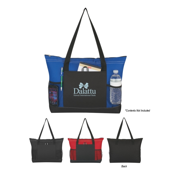 Voyager - Embroidery - Tote With Top Zippered Closure And Inside Pocket Photo