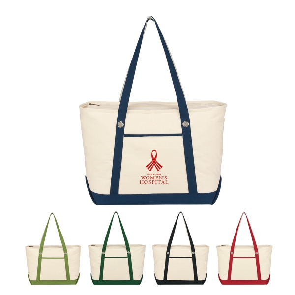 Sailing - Embroidery - Large Cotton Canvas Sailing Tote With Outside Pocket Photo