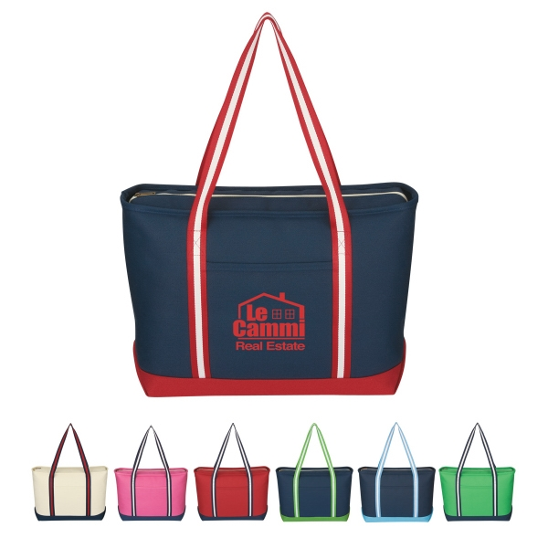 Admiral - Silkscreen - Large Cotton Canvas Tote With Zippered Top Closure Photo