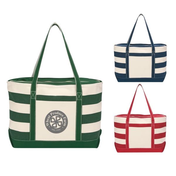 Nautical - Embroidery - Cotton Canvas Tote With Zippered Top Closure Photo