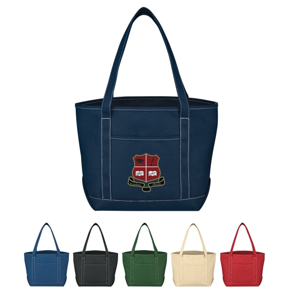 Yacht - Embroidery - Medium Cotton Canvas Tote With Outside Pocket Photo