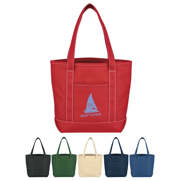 Yacht - Small Cotton Canvas Tote With Outside Pocket Photo