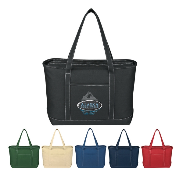 Yacht - Embroidery - Large Cotton Canvas Tote With Outside Pocket Photo