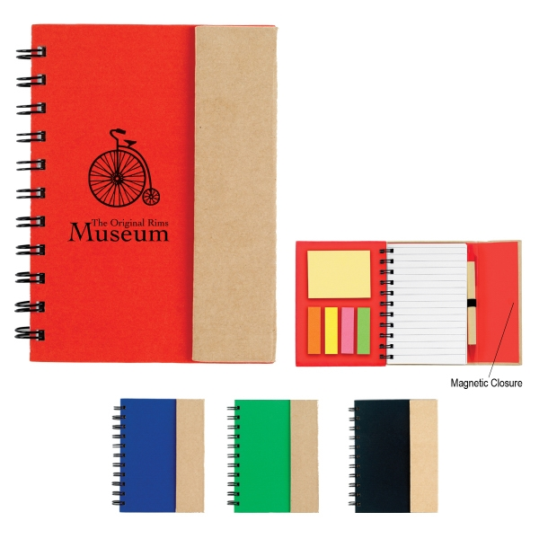 Small Spiral Notebook With Sticky Notes And Flags Photo