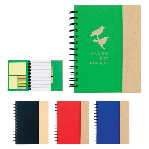 Spiral Notebook With Sticky Notes And Flags Photo