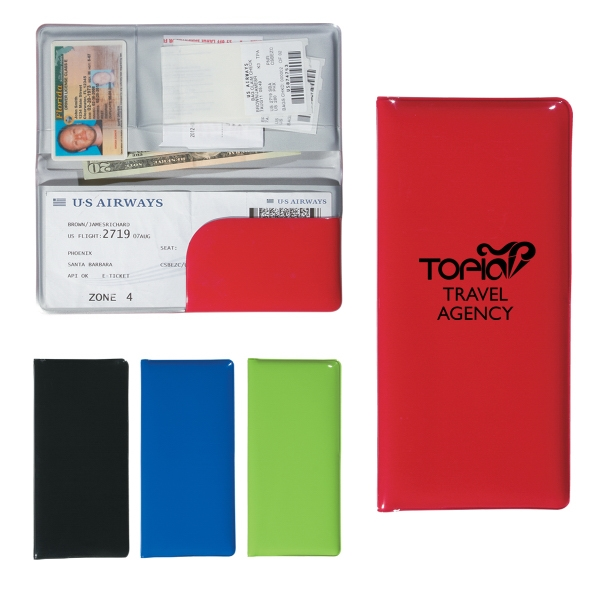 Travel Wallet With Two Large Pockets And Two Clear Pockets Photo