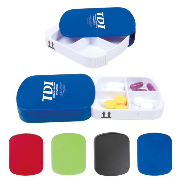 Plastic Pill Holder With 4 Sections Photo