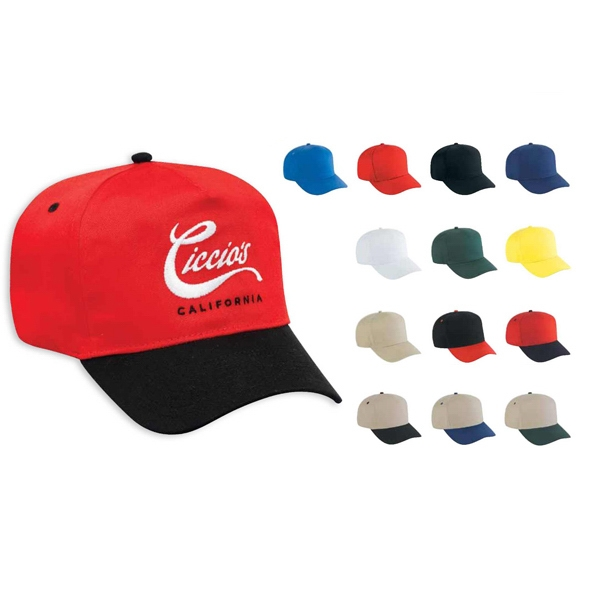 Promo Cotton Twill Five Panel Pro Style Cap In Solid And Two Tone Colors. Blank Photo
