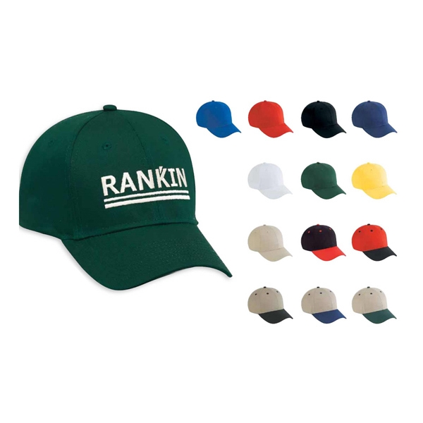 80% Polyester, 20% Cotton, Cotton Twill Six Panel Low Profile Pro Style Cap. Blank Photo
