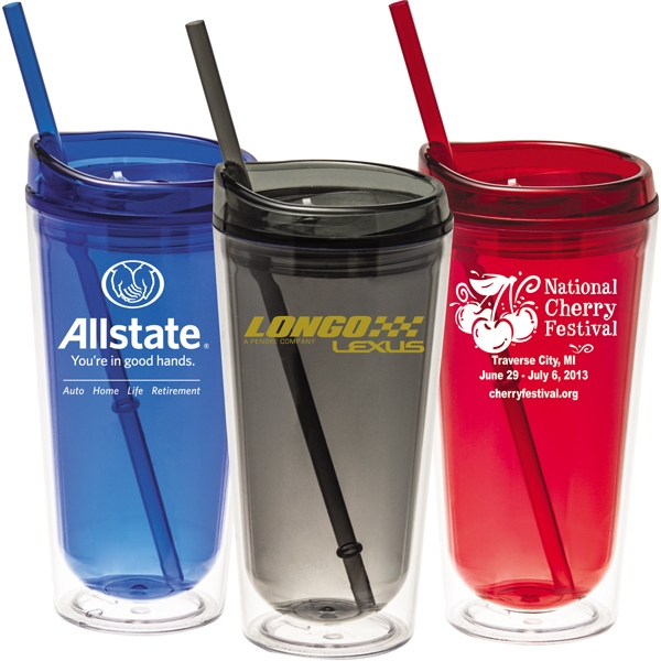 16 Oz Double Wall Acrylic Mug/tumbler With Thumb Slide Lid & Straw Photo