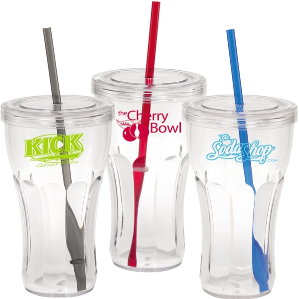 20 Oz. Acrylic Single Wall Soda Fountain Tumbler/mug With Lid And Straw Photo