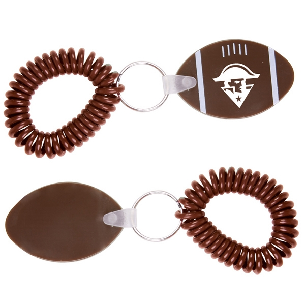 Football Shaped Vinyl Key Fob With Wrist Coil Photo