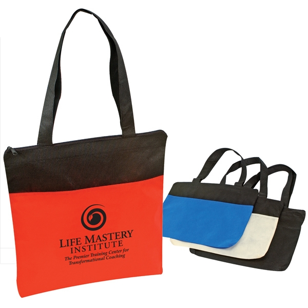 A Large Two-tone Zippered Non-woven Polypropylene Tote Bag Photo