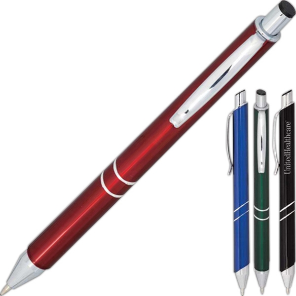 Rheanna - Metal Retractable Ballpoint Pen With Sleek Clip And Radiant Contrasting Barrel Photo