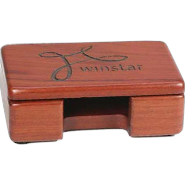 "Rosewood Business Card Holder Measures 4-1/4""w X 2-3/4""h X 1-3/8""d Photo"
