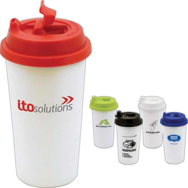 Blanc - 17 Oz. Double Wall Tumbler With Twist-off Lid And Snap-fit Device Photo