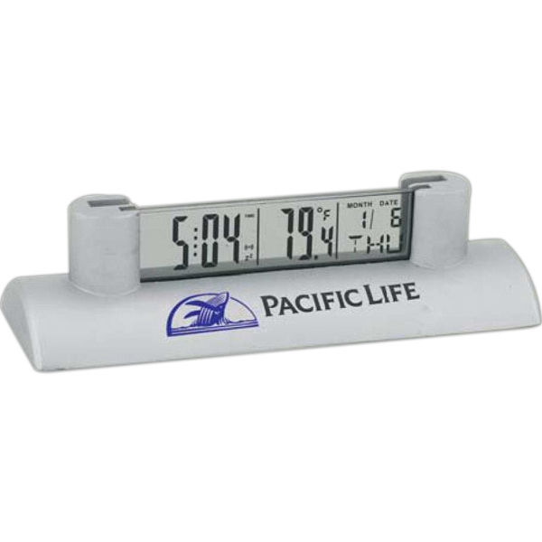 Metal Digital Lcd Clock With Card Holder, Displays Time, Date, And Temperature Photo