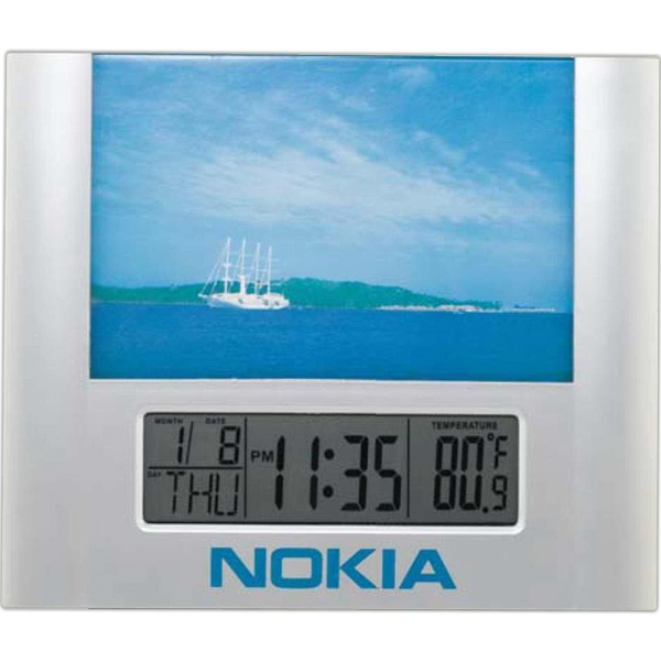 "Picture Frame Lcd Clock With Day And Temperature Display. 4"" X 6"" Picture Frame Photo"
