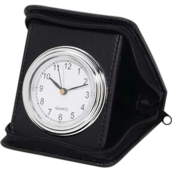 Folding Travel Alarm Clock With Simulated Leather Case Photo