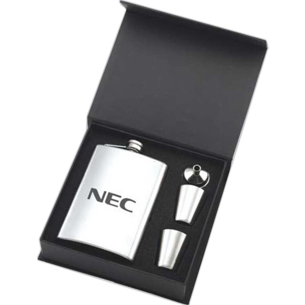 Brushed Stainless Steel Flask Gift Set With Funnel And Cups Photo