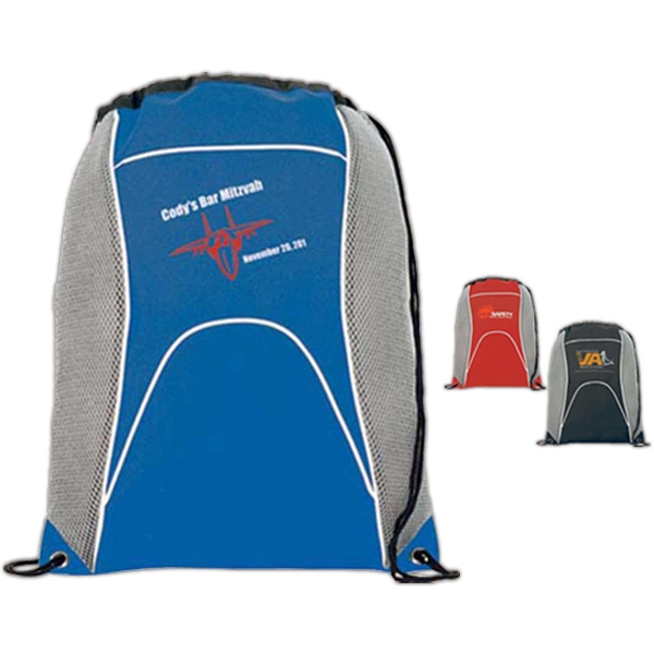 "Tour - Polyester Cinch Pack With Side Mesh Panels For Ventilation, Bag Measures 14"" X 17"" Photo"