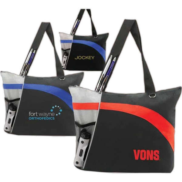 "Cascade (tm) - Polyester Travel Tote With Reflective Panel And Colorful Swatch, 17-1/2"" X 13"" X 4"" Photo"