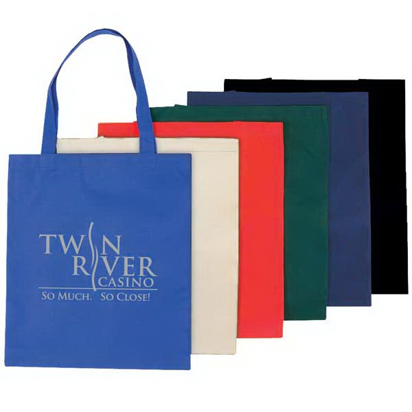"100% Recyclable And Reusable Economy Non-woven Tote Bag With Dual Reinforced 16"" Han Photo"